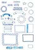 Scarabocchi disegnati a mano assortiti degli elementi dei grafici di web Fotografia Stock