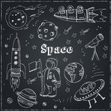 Scarabocchi disegnati a mano di astronomia Stelle, pianeta e trasporto dello spazio utilizzato per istruzione scolastica e la dec illustrazione di stock