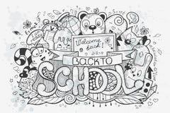 Scarabocchi disegnati a mano di vettore del fumetto su un tema della scuola Vada indietro al banco Immagine Stock