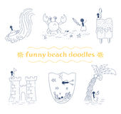 Scarabocchi divertenti della spiaggia di vettore fissati Fotografia Stock Libera da Diritti