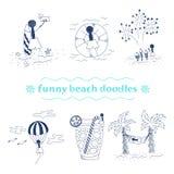 Scarabocchi divertenti della spiaggia di vettore fissati Immagine Stock Libera da Diritti