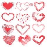 Scarabocchi fissati dei cuori di giorno di biglietti di S. Valentino Immagine Stock