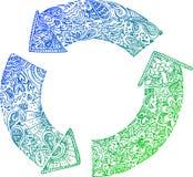 Scarabocchi imprecisi: ricicli le frecce Fotografie Stock Libere da Diritti