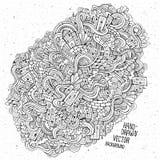 Scarabocchia il fondo disegnato a mano di schizzo delle case Immagini Stock Libere da Diritti