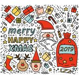 Scarabocchii i cervi di disegno Elf di Rudolph dei regali di natale di Santa Claus illustrazione vettoriale