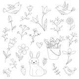 Scarabocchii i fiori, il coniglietto e gli uccelli di fantasia della molla messi Fotografia Stock