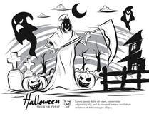 Scarabocchii il black&white di Halloween del fumetto, lo scherzetto o dolcetto, fantasma Illustrazione di Stock