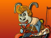 Scarabocchii il carattere sorridente del coniglio dell'illustrazione sul motociclo o sulla bici su fondo arancio Etichetta della  immagine stock
