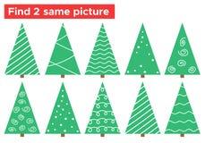 Scarabocchii il compito dell'albero di Natale, trovi 2 la stessa immagine Immagini Stock Libere da Diritti