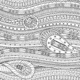 Scarabocchii il fondo nel vettore con il modello etnico di scarabocchio Fotografia Stock