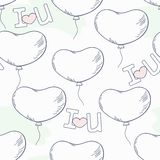 Scarabocchii il modello senza cuciture con i palloni e le lettere del cuore Immagini Stock