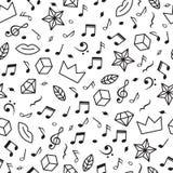 Scarabocchii il modello senza cuciture con le note di musica, i cuori, le stelle ed altri elementi geometrici Fondo disegnato a m Fotografia Stock