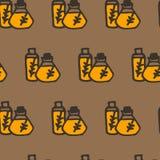Scarabocchii il modello senza cuciture dell'olio d'oliva, olio nella bottiglia con la pianta Immagine Stock Libera da Diritti