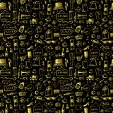 Scarabocchii il modello senza cuciture delle icone dell'oro di acquisto per Black Friday Immagini Stock Libere da Diritti