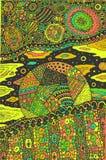 Scarabocchii l'arte fantastica surreale con il pianeta ed il paesaggio cosmico Materiale illustrativo variopinto psichedelico orn illustrazione vettoriale