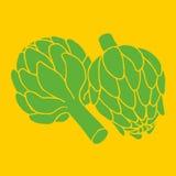 Scarabocchii l'illustrazione del carciofo, fondo organico del vegano Immagine Stock