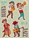 Scarabocchii la banda di stile, di jazz o dei blu di musica dei musicisti in 1920 Fotografie Stock