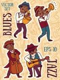 Scarabocchii la banda di stile, di jazz o dei blu di musica dei musicisti in 1920 Fotografia Stock Libera da Diritti