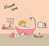 Scarabocchii la doccia felice disegnata a mano della presa della ragazza in vasca illustrazione di stock