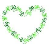 Scarabocchii la linea arte verde del cuore dell'acetosella del trifoglio isolata Fotografia Stock