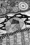 Scarabocchii la pagina di coloritura per gli adulti con il pianeta ed il paesaggio cosmico royalty illustrazione gratis