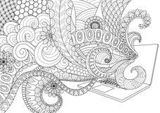 Scarabocchii la progettazione della linea arte di divertimento che esce dal computer portatile per le pagine adulte per l'anti sf illustrazione vettoriale