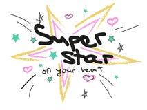 Scarabocchii le stelle e cuori e testo nei colori pastelli Immagine Stock