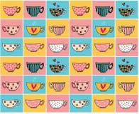 Scarabocchii le tazze di caffè del disegno della mano nelle progettazioni differenti sul modello d'annata del fondo di colore sen illustrazione vettoriale