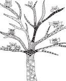 Scarabocchio, albero dei gufi dello zentangle Fotografie Stock Libere da Diritti