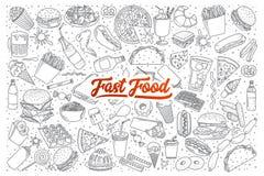 Scarabocchio degli alimenti a rapida preparazione fissato con iscrizione Fotografia Stock Libera da Diritti