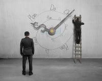 Scarabocchio del ciclo infinito di PDCA con le mani e gli uomini d'affari di orologio Fotografia Stock