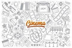 Scarabocchio del cinema fissato con iscrizione Fotografia Stock Libera da Diritti