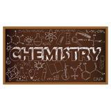 Scarabocchio del consiglio scolastico con i simboli di chimica Vettore Fotografie Stock Libere da Diritti
