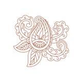 Scarabocchio del fiore del tatuaggio del hennè su un fondo bianco Immagini Stock