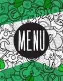 Scarabocchio del fondo del menu di progettazione di pizza con gli ingredienti Fotografie Stock