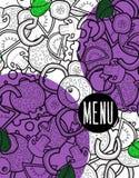 Scarabocchio del fondo del menu di progettazione di pizza con gli ingredienti Immagine Stock
