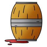 scarabocchio del fumetto di pendenza di un barilotto di vino illustrazione vettoriale