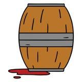 scarabocchio del fumetto di un barilotto di vino illustrazione di stock