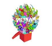 Scarabocchio del mostro e contenitore di regalo Ciao il Vietnam royalty illustrazione gratis