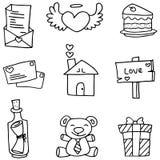 Scarabocchio del tema romanzesco con tiraggio della mano royalty illustrazione gratis