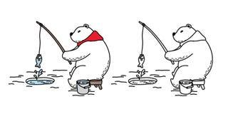 Scarabocchio dell'illustrazione della sciarpa del carattere di pesca di logo del fumetto dell'icona dell'orso polare di vettore d royalty illustrazione gratis