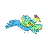 Scarabocchio dell'uccello Uccellino etnico del disegno della mano isolato Fotografie Stock Libere da Diritti