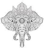 Scarabocchio della testa dell'elefante sullo schizzo bianco di vettore illustrazione di stock