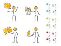 Scarabocchio delle icone di comunicazione della gente Fotografie Stock Libere da Diritti