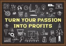 Scarabocchio di affari con il GIRO di frase la VOSTRA PASSIONE NEI PROFITTI sulla lavagna illustrazione di stock