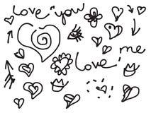 Scarabocchio di amore del biglietto di S. Valentino fissato con testo Fotografia Stock Libera da Diritti