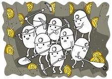 Scarabocchio di estrazione mineraria di Bitcoin Fotografie Stock Libere da Diritti