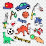Scarabocchio di infanzia del ragazzo con la palla, i giocattoli ed i vestiti Autoadesivi, distintivi e toppe dei bambini illustrazione vettoriale