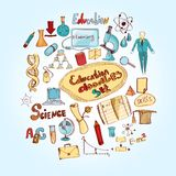 Scarabocchio di istruzione colorato Immagine Stock