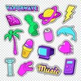 Scarabocchio di stile dell'adolescente di Vaporwave Autoadesivi al neon, distintivi e toppe con cuore, gelato e palma Fotografia Stock